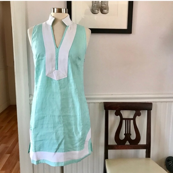 38e680f0d9 NWT Sail to Sable Mint Linen Tunic Dress w Twill